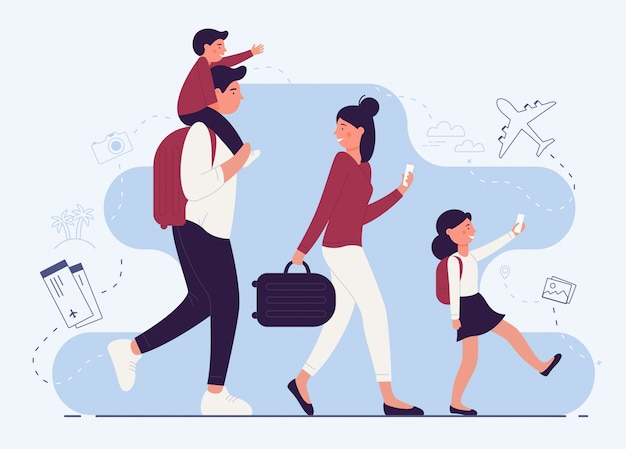 People family in airport terminal illustration