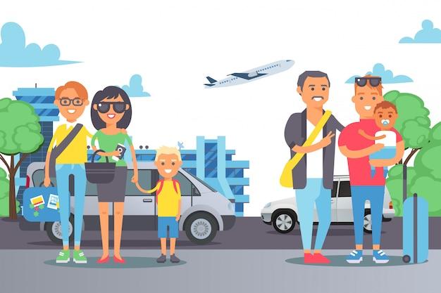 週末、車旅行のイラストの人々の家族。外のキャラクターの子供たちと立っている幸せな笑顔のカップル。