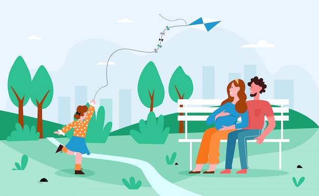 People family in park illustration. cartoon flat happy pregnant mother and father spend time together with girl kid in city park, child running with kite, summer outdoor activity background
