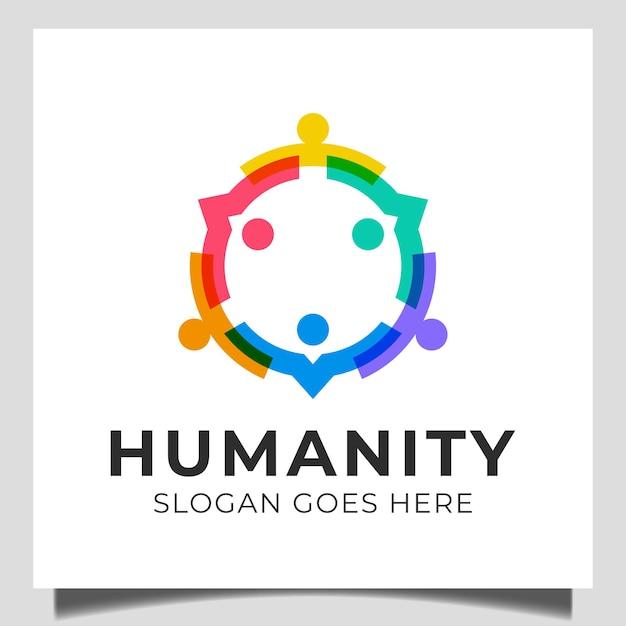 人々の家族の社会的グループの人間のコミュニティ、人々のグループのチームワーク、一緒に気遣うロゴデザイン