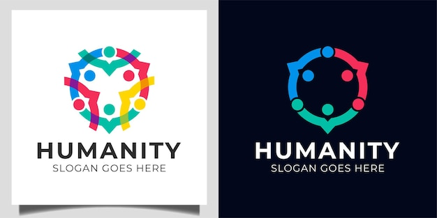 People family social group human community, people group teamwork, care together logo design