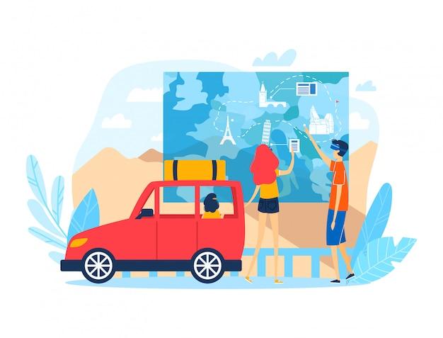 Стойка семьи людей путешествует информационная цифровая карта, мужской автомобиль женщины и автомобиль отключения европейский изолированный на белизне, иллюстрации шаржа.