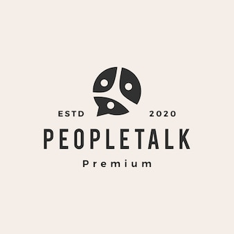 People family team chat bubble  vintage logo