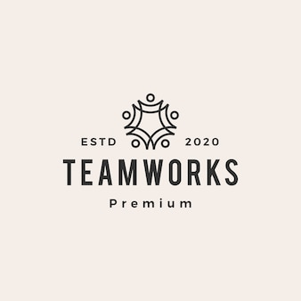 People family team work vintage logo