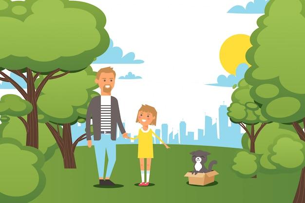 人家族、小さな娘のイラストが付いている都市公園を歩いて。男のキャラクターは子供の手を握って、女の子ショーの父
