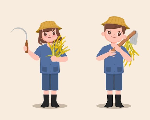 鎌とシャベルを持っている農民農民の耕運機のキャラクターと水稲