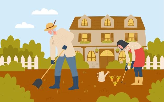 Люди-фермеры работают в фермерском саду, садовник в резиновых сапогах работает с лопатой