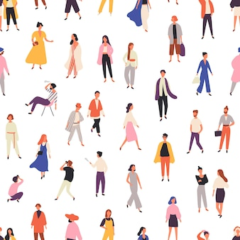 People in fashionable clothes seamless pattern.