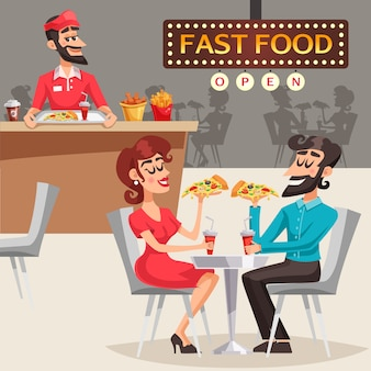 People in fast food restaurant illustration