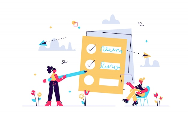 People feel in check boxes in to do list. project task management it concept. software development process and project management activities. violet palette. illustration on white background