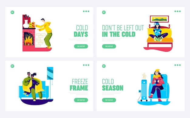 People feeling cold at home. set of landing pages with cartoon characters