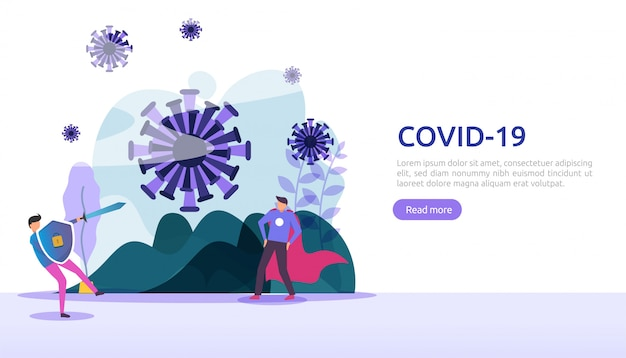 人々はcovid-19コロナウイルスの図の概念と戦います。コロナウイルス2019-ncovワクチンの研究コンセプト。 webランディングページテンプレート、バナー