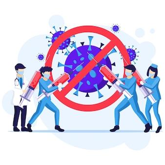 人々はウイルスの概念と戦う、医師と看護師はcovid-19コロナウイルスのイラストと戦うために武器を使用する