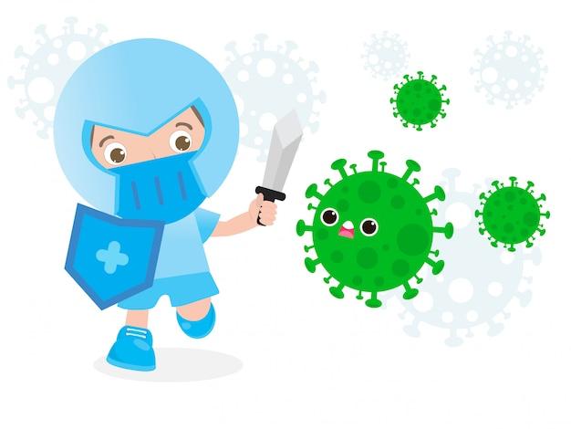 人々はコロナウイルス(2019-ncov)と戦う、漫画のキャラクターの男はcovid-19を攻撃し、子供とウイルスや細菌に対する保護、白い背景で隔離された健康的なライフスタイルのコンセプト