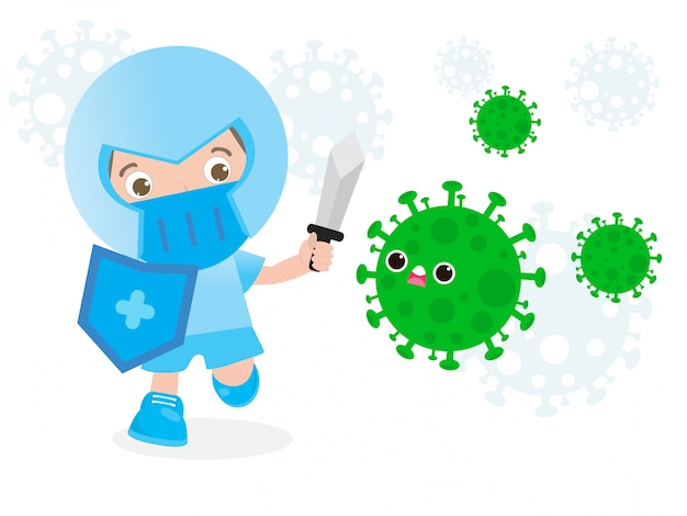 People fight with coronavirus (2019-ncov), cartoon character man attack covid-19 ,children and protection against viruses and bacteria, healthy lifestyle concept isolated on white background