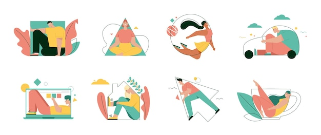 People fill in various shapes set isolated. vector character illustration of home, work, movement metaphor
