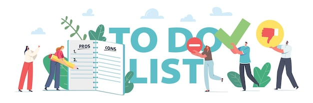 People filling to do list concept. tiny business characters stand at huge notebook with checklist fill pros and cons, decision, planning process poster, banner or flyer. cartoon vector illustration