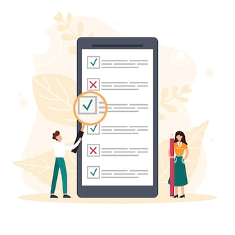 People filling online survey form on mobile screen. tiny person with magnifying glass nearby giant checklist. customer feedback, service rate. flat vector illustration.