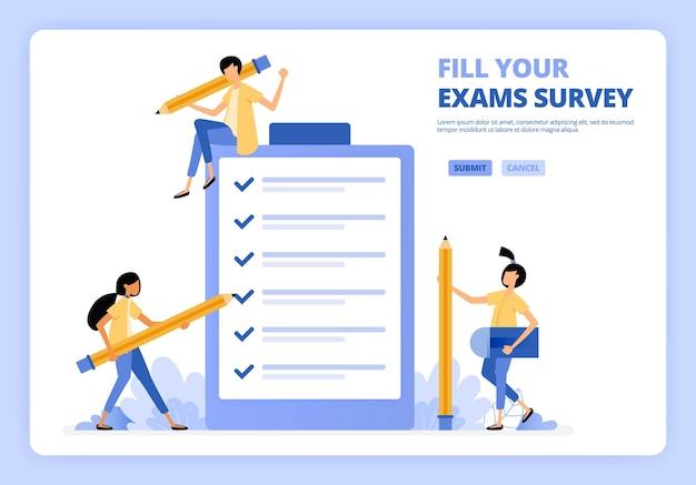 취업 지원서 설문 조사 또는 졸업 시험을 작성하는 사람들