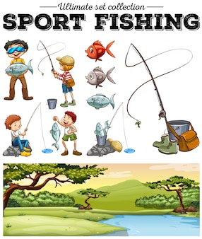 People fishing and river scene illustration