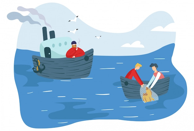 People fishing in sea, simple cartoon characters,  illustration