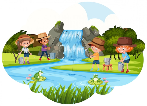 People fishing next to waterfall