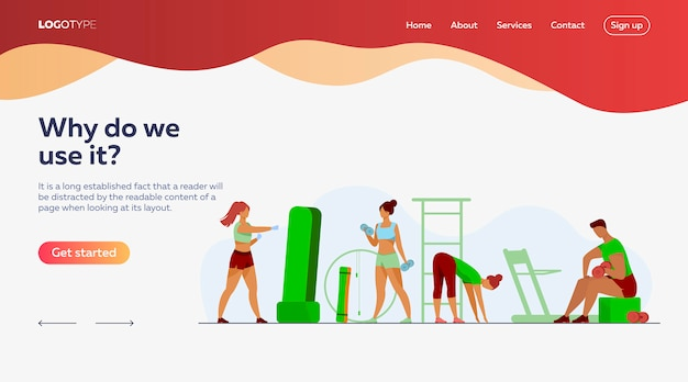 People in fitness club landing page template
