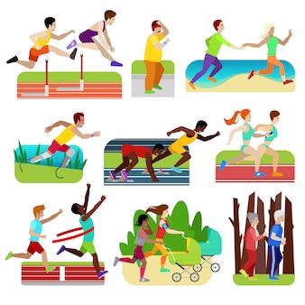 Люди фитнес бегущий характер спортсмена бег трусцой, чтобы тренироваться для марафона и пара друзей бегать трусцой вместе бегун иллюстрации в спортивной одежде запустить спортивную гонку на белом фоне