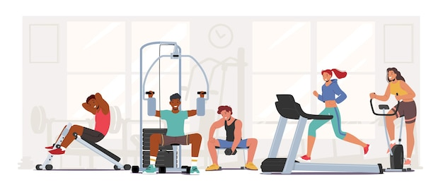 People fitness training in gym. male and female characters exercising with professional equipment doing workout with weight, run on treadmill. sport activity, healthy life. cartoon vector illustration