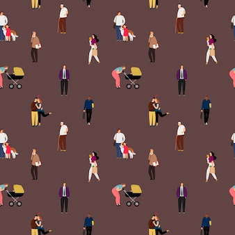 People flat seamless pattern. couple kissing, mother with baby carriage walking decorative background.
