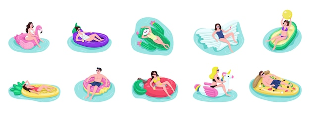 People float on air mattresses  color  faceless characters set. adult guys and girls drinks cocktail in pool. tourists sunbathing  cartoon illustrations on white background