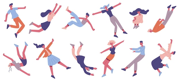 People floating in air. flying male and female characters floating in space, imagination or dreaming people set