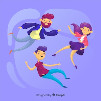 People floating in the air