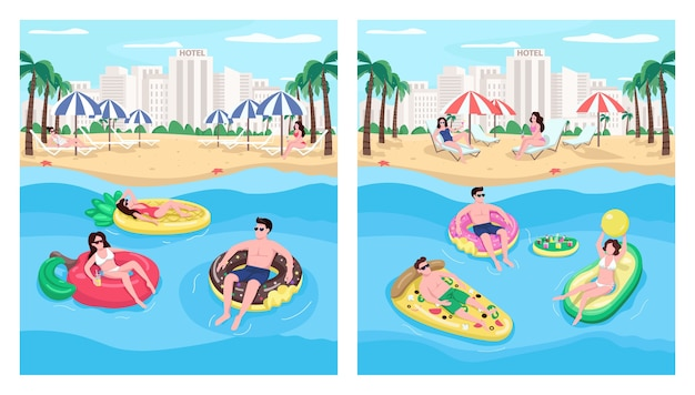 People floating on inflatables flat color illustration set