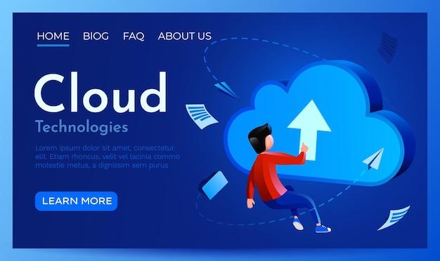 Люди летают вокруг целевой страницы облачного знака