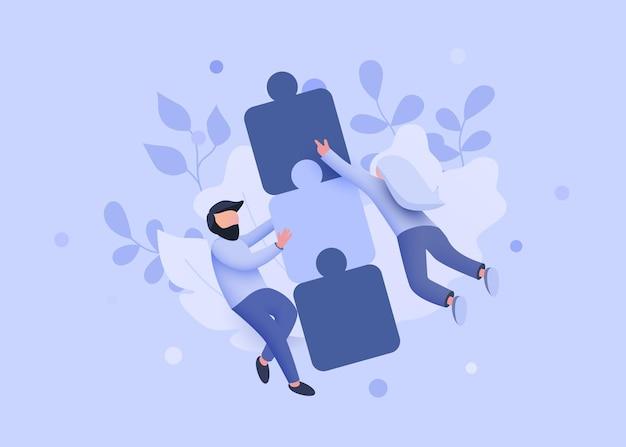 Люди летают вокруг головоломки сотрудничества, совместной работы и партнерства, концепции целевой страницы веб-сайта ...