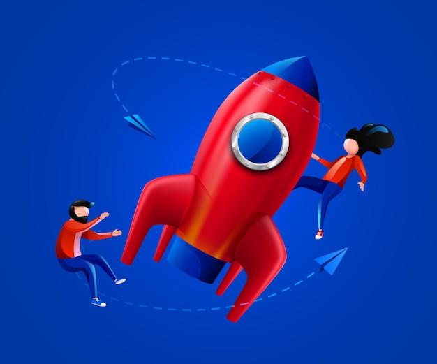 사람들은 로켓 시작 프로젝트 시작 또는 혁신 개념을 시작합니다.