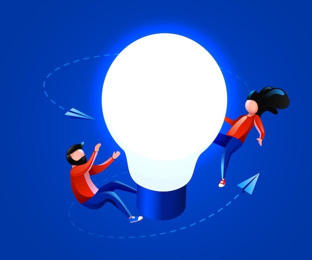 人々は電球のアイデアの革新のブレーンストーミングと創造性の概念を飛び回る