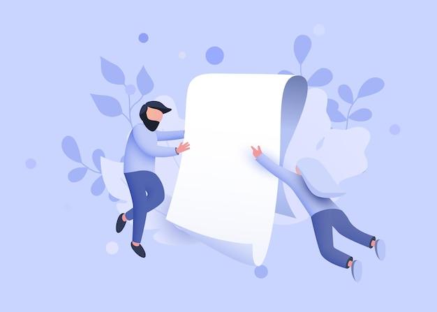 사람들은 종이 계약 문서 계약 또는 계약 개념 방문 페이지 템플릿 주위를 날아다닌다