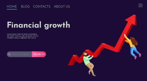 Люди летают вокруг шаблона целевой страницы веб-сайта с растущей стрелкой, инвестиционной прибылью и финансовым успехом