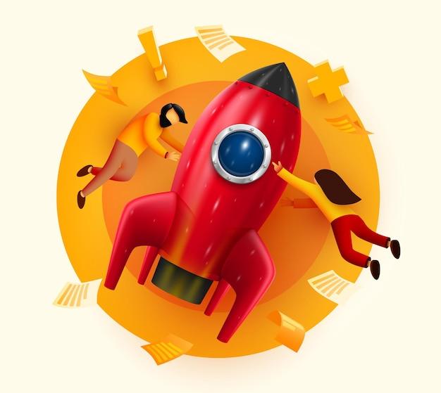 Люди летают вокруг запуска большой ракеты и запуска бизнес-концепции, веб-страница, баннер, презентация, идея процесса запуска бизнес-проекта через планирование