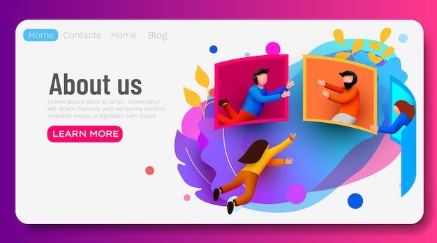 캐릭터와 함께 큰 화면 온라인 강의 또는 비즈니스 회의 온라인 팀워크 온라인 설문 조사 주위를 비행하는 사람들