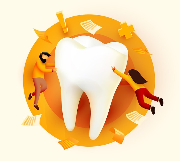People flying around big tooth dental clinic teeth care web page banner presentation online survey with characters