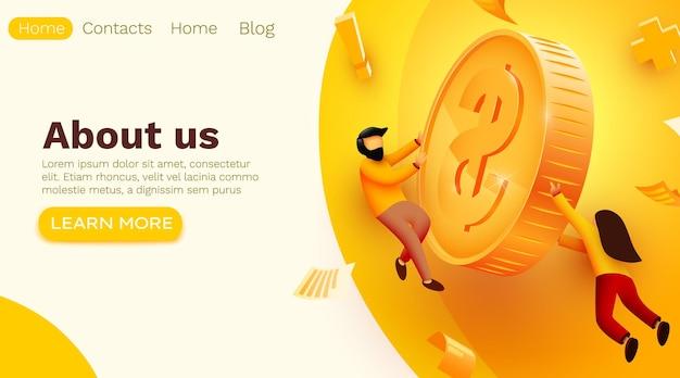 Люди летают вокруг золотой монеты Premium векторы
