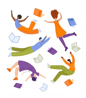 People flying dreaming with books, miniature men and girls, students in dynamic