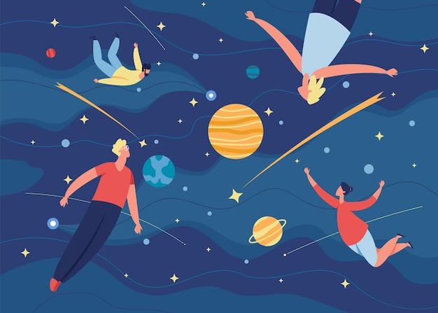 Люди летают в космосе, персонажи плывут в невесомости. мужчины и женщины летают в мечтах, воображении, творческих исследованиях векторные иллюстрации. космическое путешествие или астрономические приключения