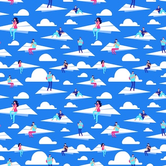 People flying on paper planes vector seamless pattern