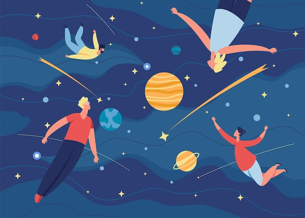 People flying in space, characters floating in zero gravity. men and women fly in dreams, imagination, creative exploration vector illustration. cosmos journey or astronomic adventures