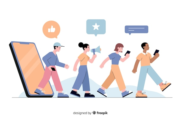 People following each other concept illustration