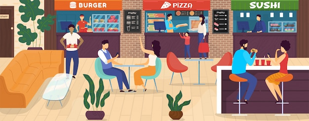 People in food court, cartoon characters in shopping mall cafe order pizza to go,  illustration